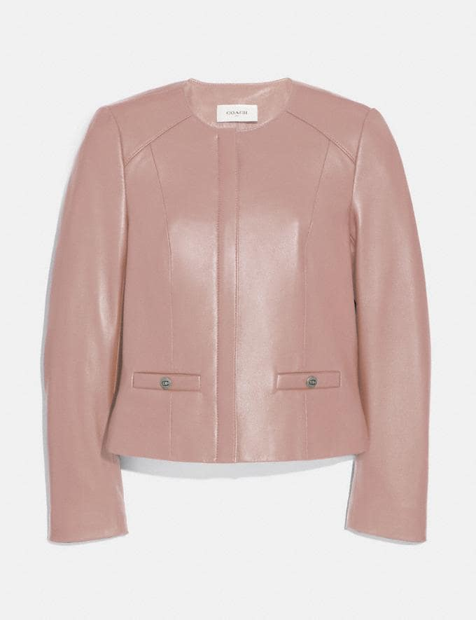 Coach Tailored Leather Jacket Powder Pink SALE Women's Sale Ready-to-Wear