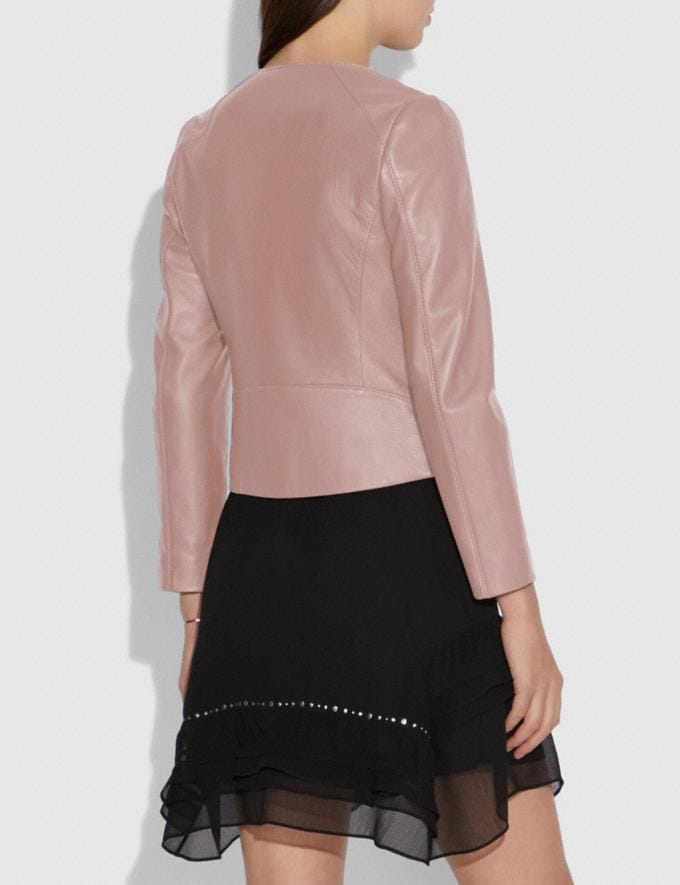 Coach Tailored Leather Jacket Powder Pink SALE Women's Sale Ready-to-Wear Alternate View 2