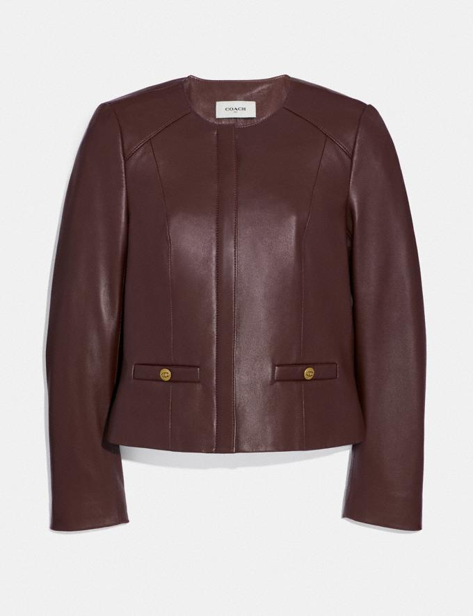Coach Tailored Leather Jacket Walnut SALEDDD Women's Sale Ready-to-Wear