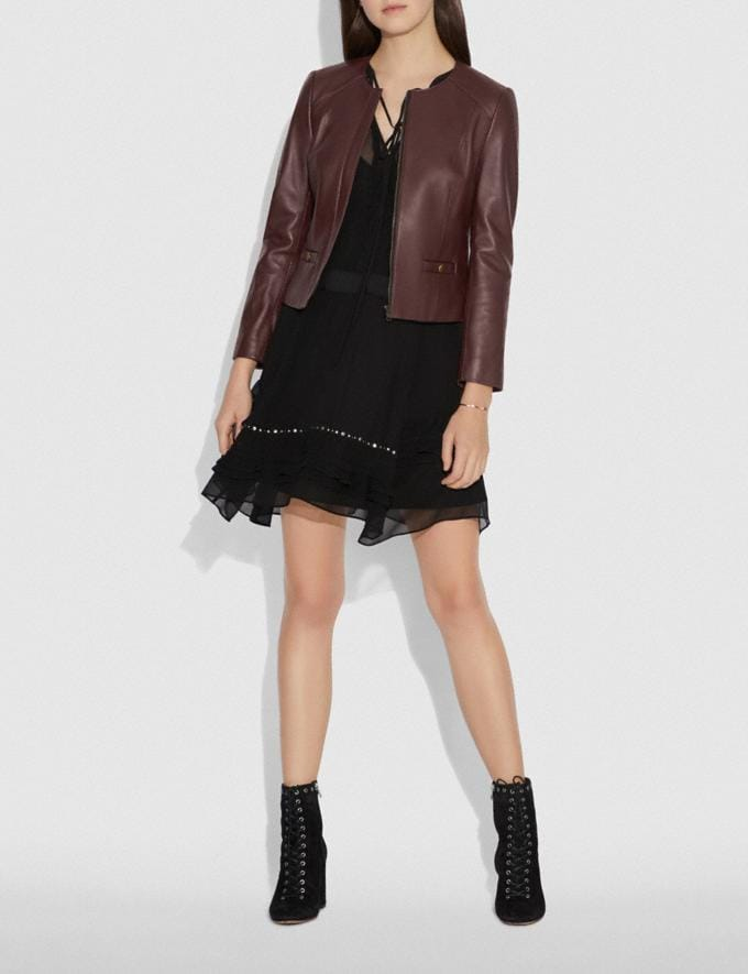 Coach Tailored Leather Jacket Walnut Women Ready-to-Wear Jackets & Outerwear Alternate View 1