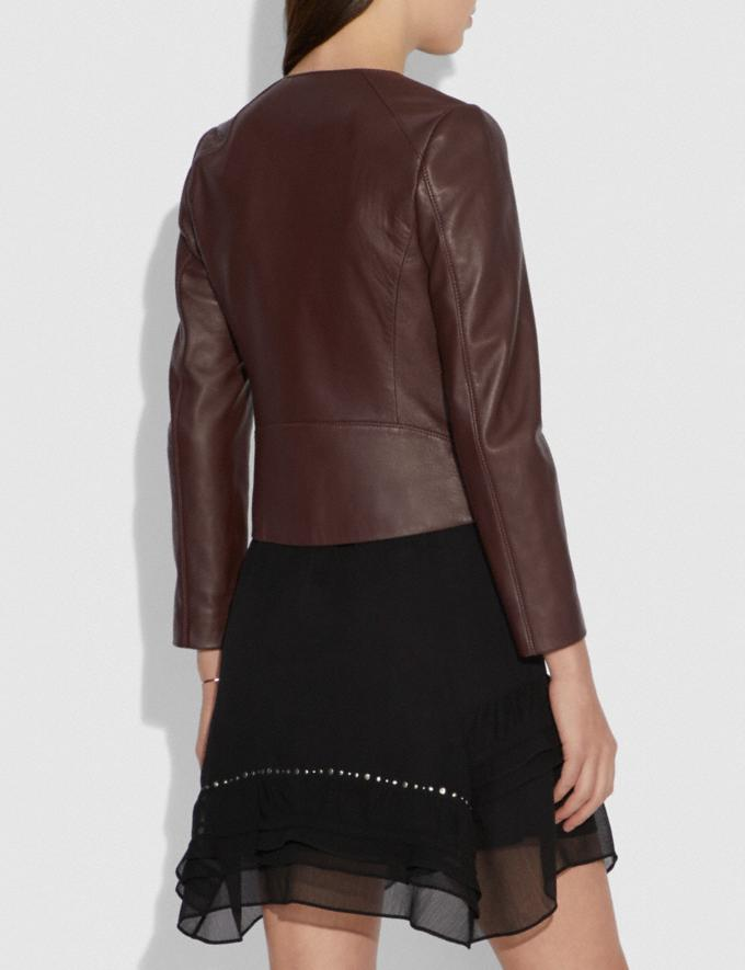 Coach Tailored Leather Jacket Walnut Women Ready-to-Wear Jackets & Outerwear Alternate View 2