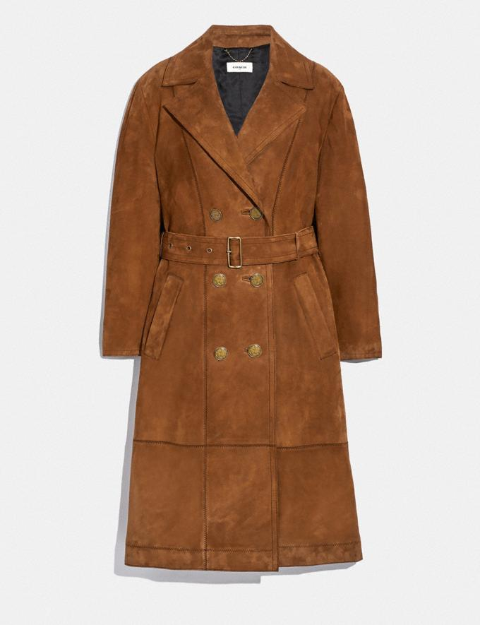 Coach Suede Trench Coat Cappucino
