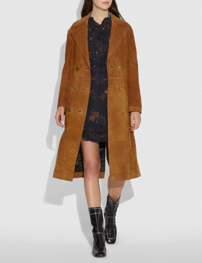 Coach Suede Trench Coat Cappucino  Alternate View 1