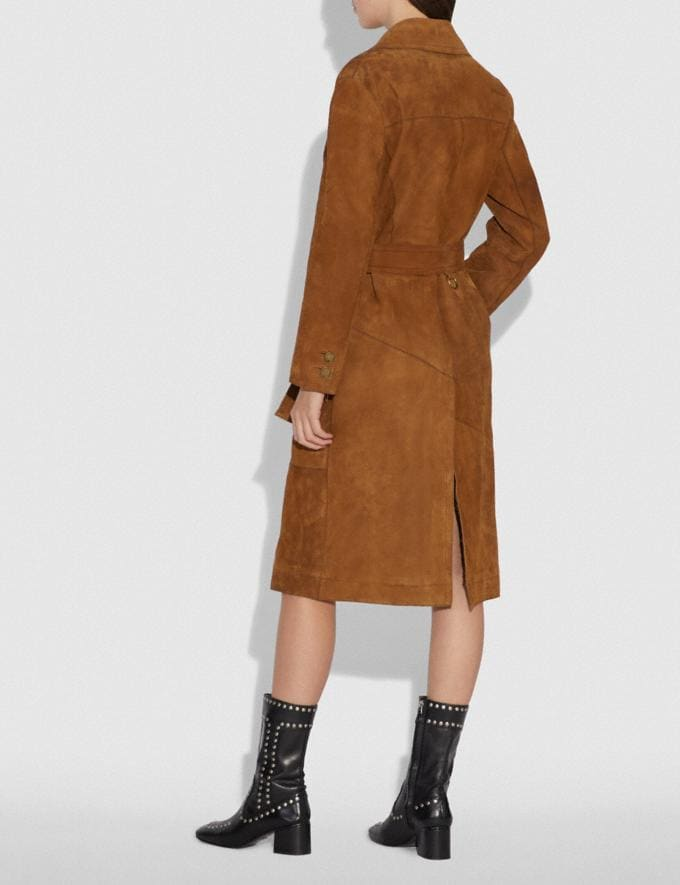 Coach Suede Trench Coat Cappucino VIP SALE Women's Sale Ready-to-Wear Alternate View 2