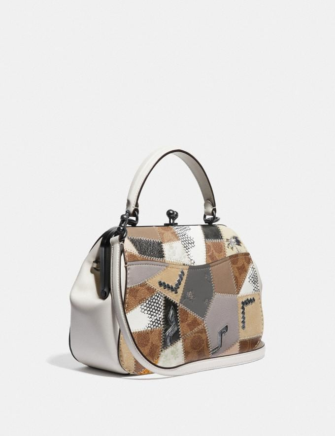 Coach Frame Bag 23 With Signature Patchwork Tan Beechwood Multi/Pewter Women Bags Satchels & Carryalls Alternate View 1