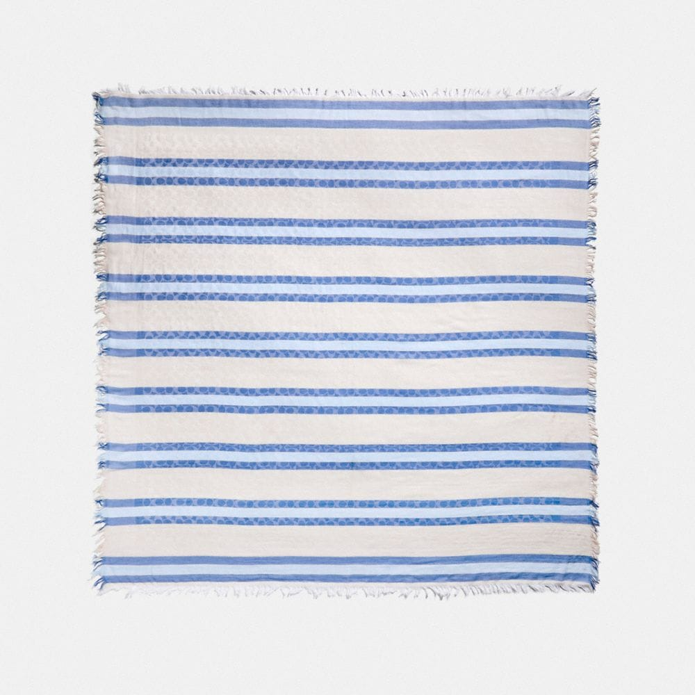 Coach STRIPED SIGNATURE JACQUARD OVERSIZED SQUARE SCARF
