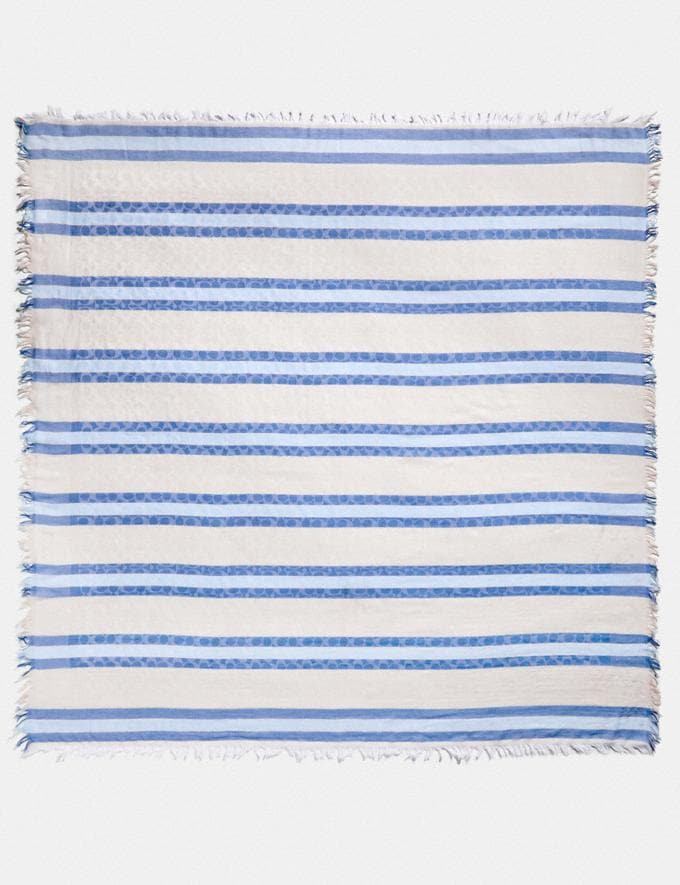 Coach Striped Signature Jacquard Oversized Square Scarf Cornflower Women Accessories Scarves