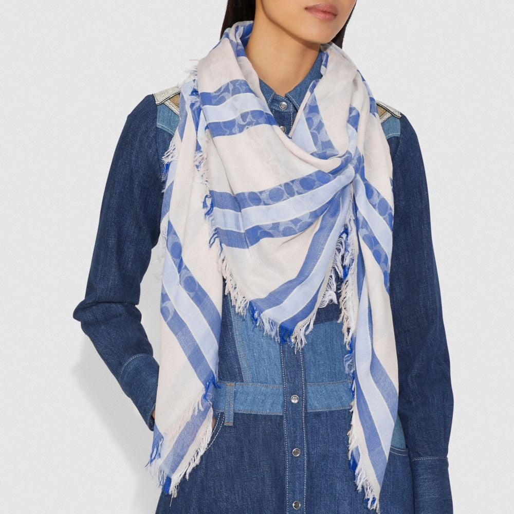 Coach STRIPED SIGNATURE JACQUARD OVERSIZED SQUARE SCARF Alternate View 1