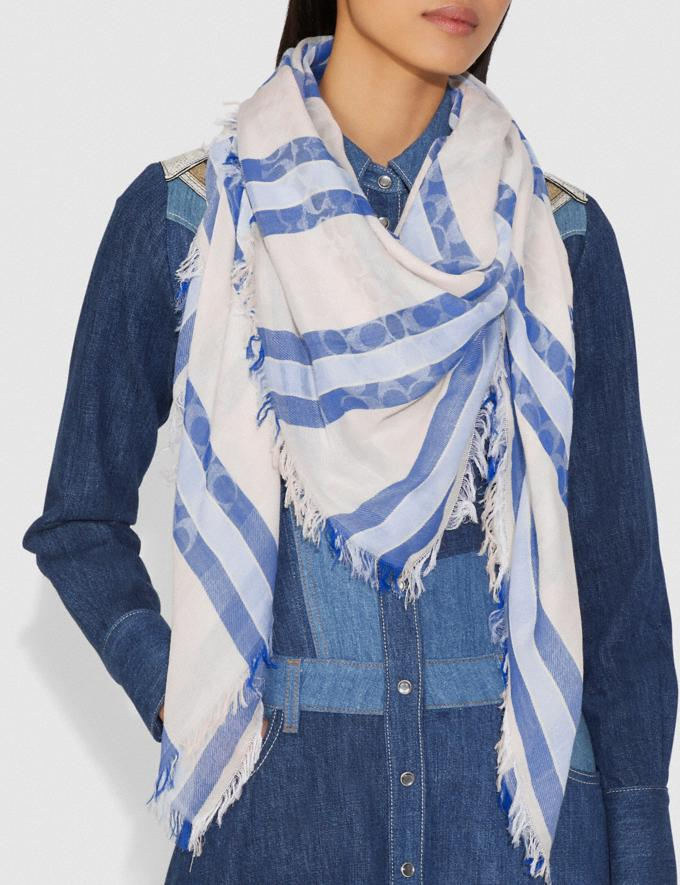 Coach Striped Signature Jacquard Oversized Square Scarf Cornflower Women Accessories Hats Scarves and Gloves Alternate View 1