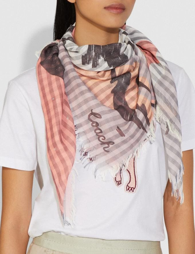 Coach Stripe Planet Print Oversized Square Scarf Peach Women Accessories Hats, Scarves & Gloves Alternate View 1