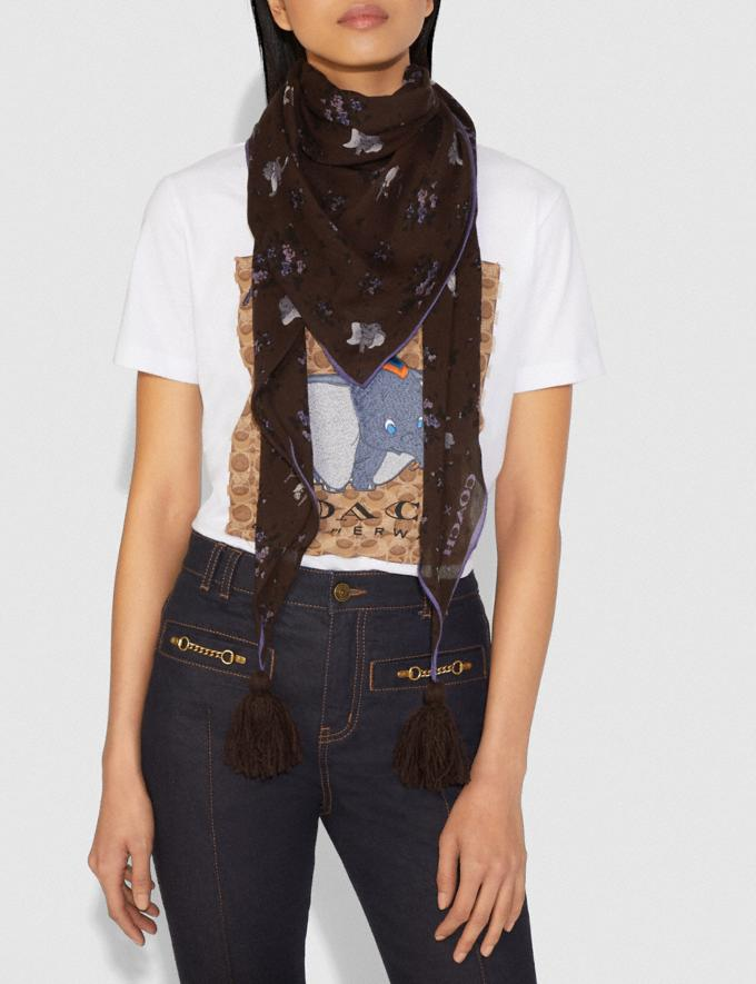 Coach Disney X Coach Dumbo Floral Print Diamond Scarf Walnut DEFAULT_CATEGORY Alternate View 1