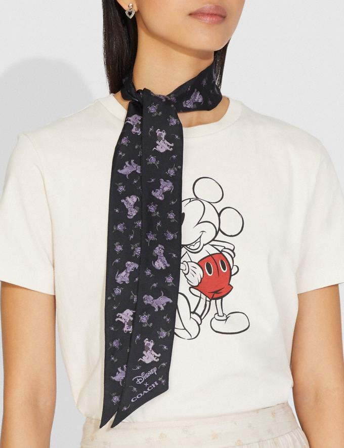 Coach Disney X Coach Dalmatian Floral Print Skinny Scarf Navy Women Accessories Hats Scarves and Gloves Alternate View 1
