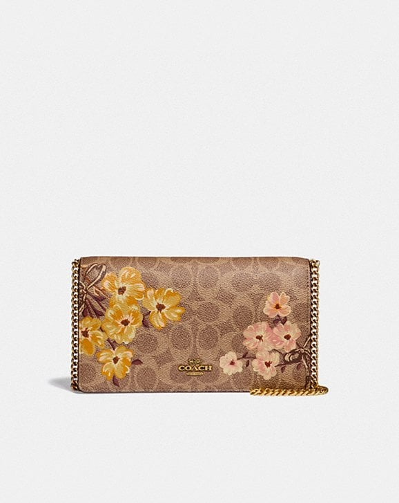 Coach CALLIE FOLDOVER CHAIN CLUTCH IN SIGNATURE CANVAS WITH PRAIRIE FLORAL PRINT