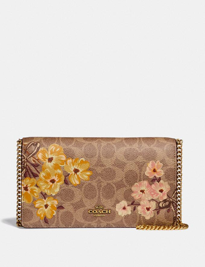 Callie Foldover Chain Clutch In Signature Canvas With Prairie Floral