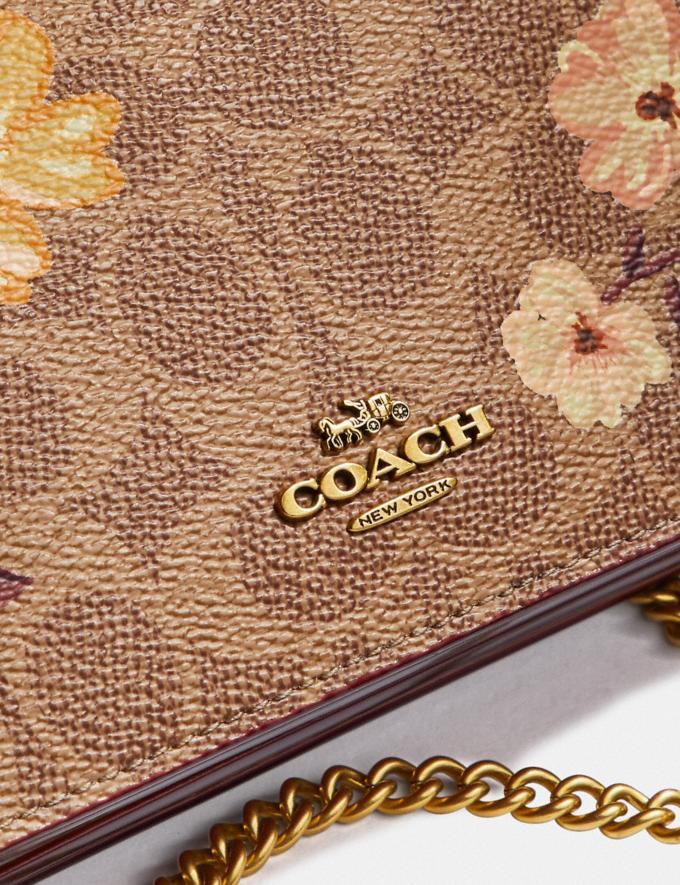 Coach Callie Foldover Chain Clutch in Signature Canvas With Prairie Floral Print Tan/Brass Women Bags Crossbody Bags Alternate View 4