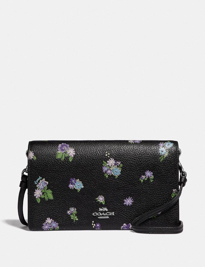 Coach Hayden Foldover Crossbody With Posey Cluster Print Black Posey Print/Silver Women Bags Crossbody Bags