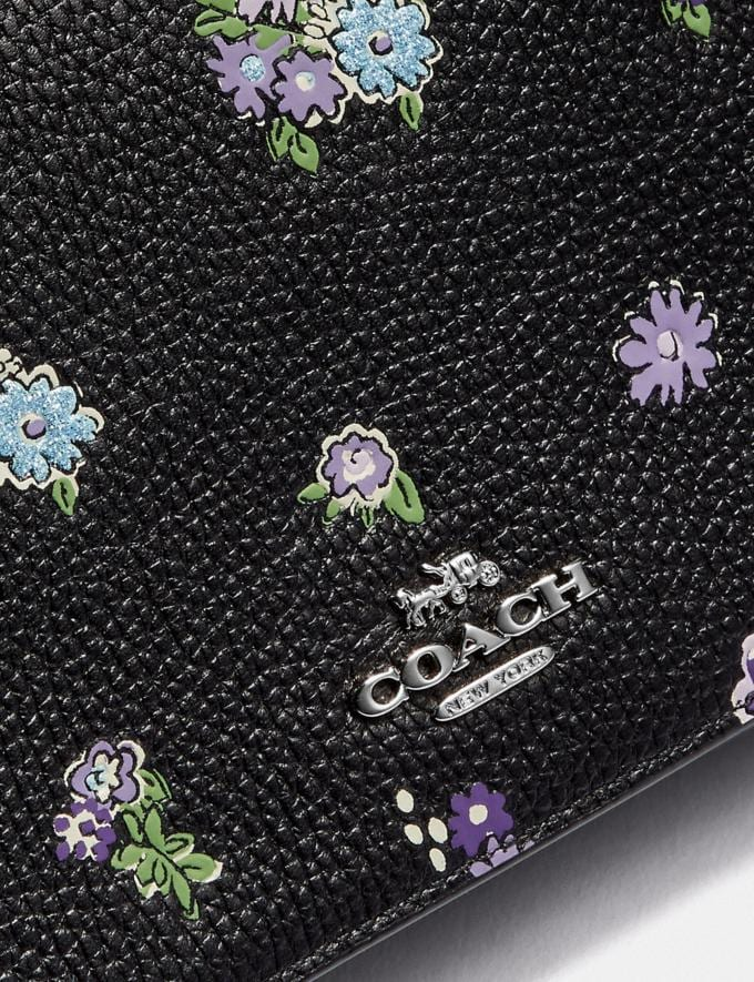Coach Hayden Foldover Crossbody With Posey Cluster Print Black Posey Print/Silver Women Bags Crossbody Bags Alternate View 3