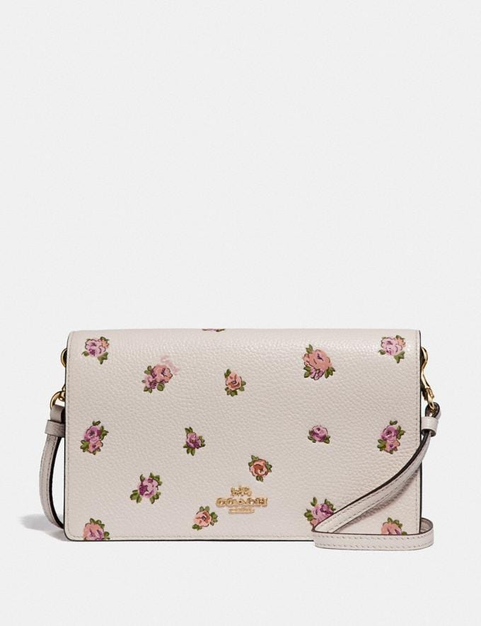 Coach Hayden Foldover Crossbody With Mini Vintage Rose Print Chalk Mini Vintage Rose/Gold Women Accessories