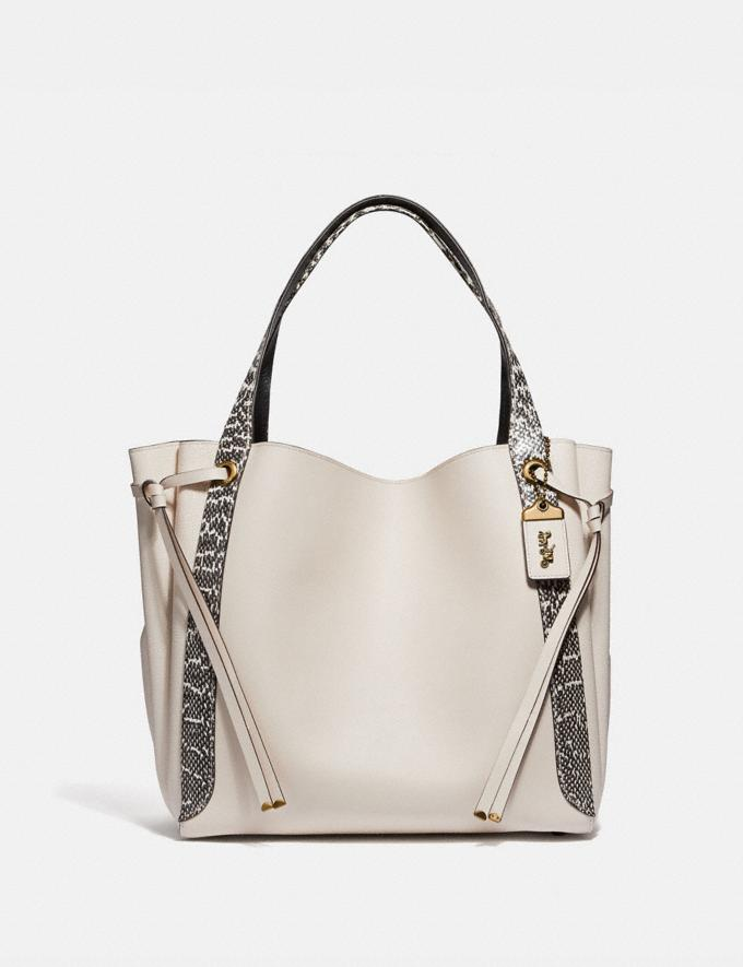 Coach Harmony Hobo 33 in Colorblock With Snakeskin Detail Chalk/Brass Women Bags Shoulder Bags