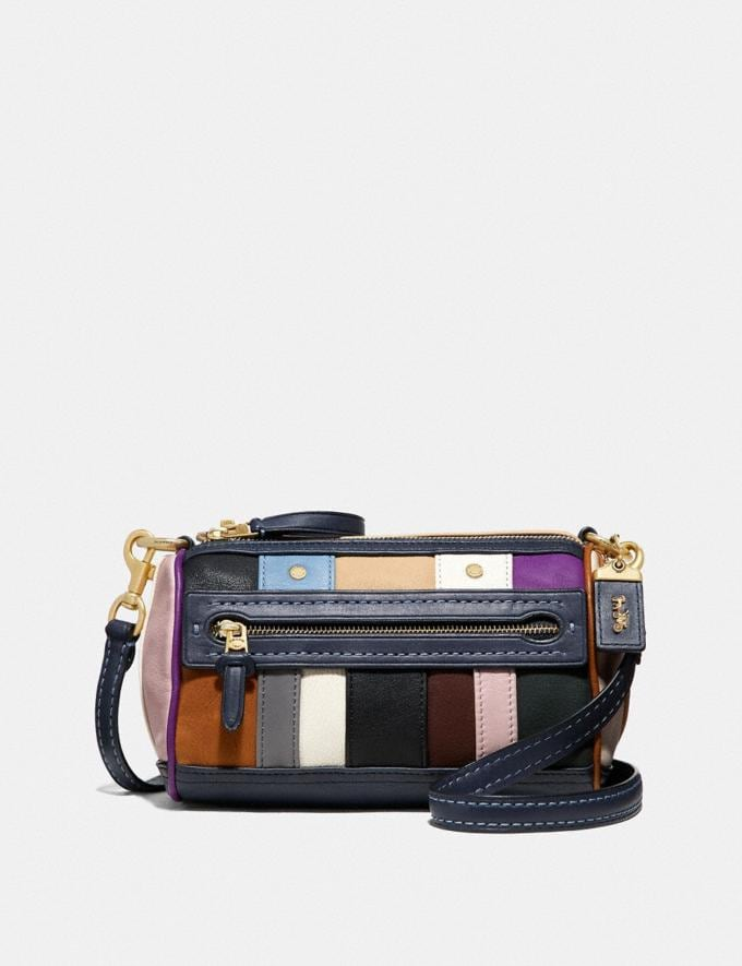 Coach Shuffle 21 With Multi Stripe Navy Multi/Brass Women Bags Shoulder Bags