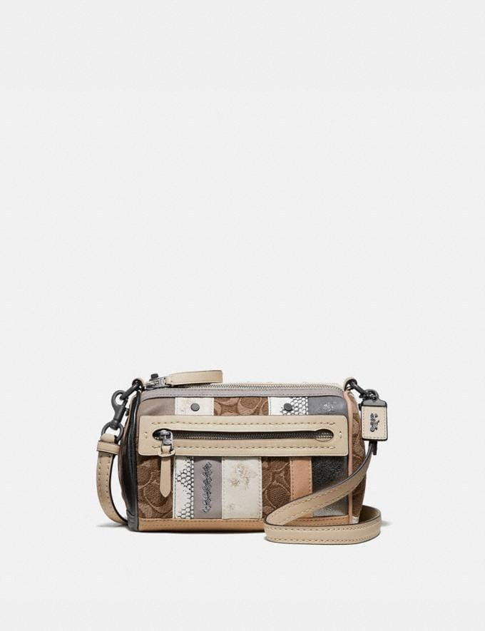 Coach Shuffle 21 in Multi Stripe Signature Jacquard V5/Tan Light Tan