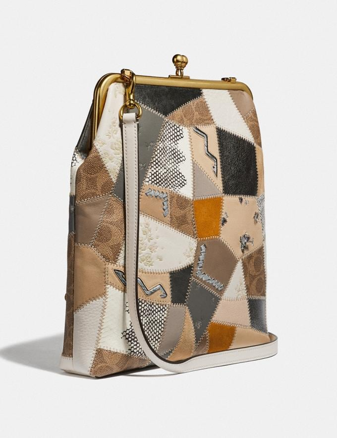 Coach Double Frame Crossbody 26 With Signature Patchwork Cream Multi/Brass Women Collection Signature Alternate View 1