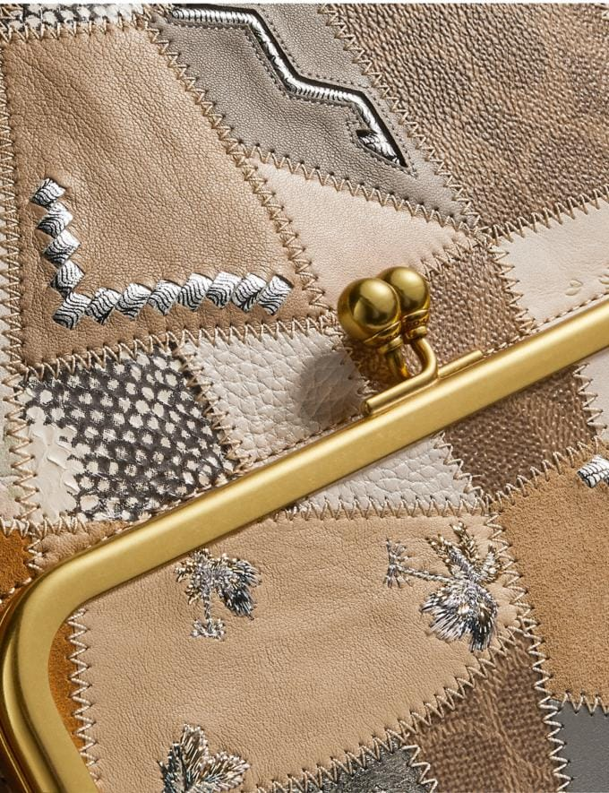 Coach Double Frame Crossbody 26 With Signature Patchwork Cream Multi/Brass Women Collection Signature Alternate View 4