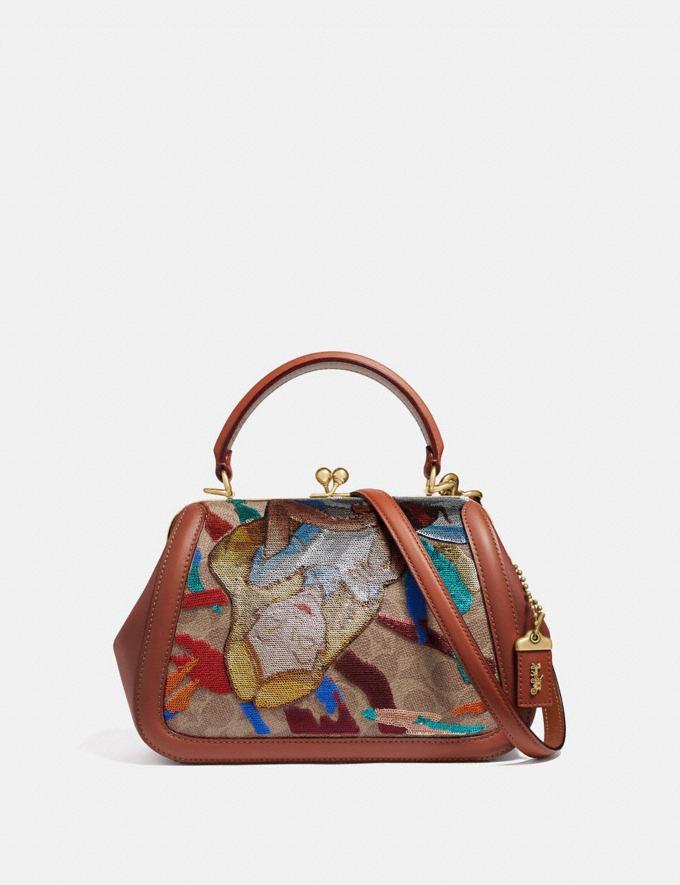 4a8f535e6bd2 Coach Disney X Coach Frame Bag 23 With Embellished Alice Tan/Rust/Brass  Women