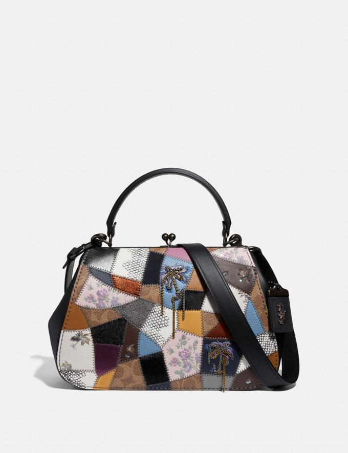 Coach Frame Bag With Patchwork Tan Black Multi/Pewter Women Bags Satchels & Carryalls