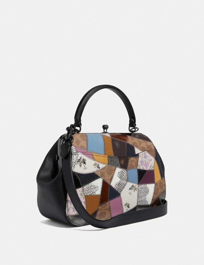 Coach Frame Bag With Patchwork Tan Black Multi/Pewter Women Bags Satchels & Carryalls Alternate View 1