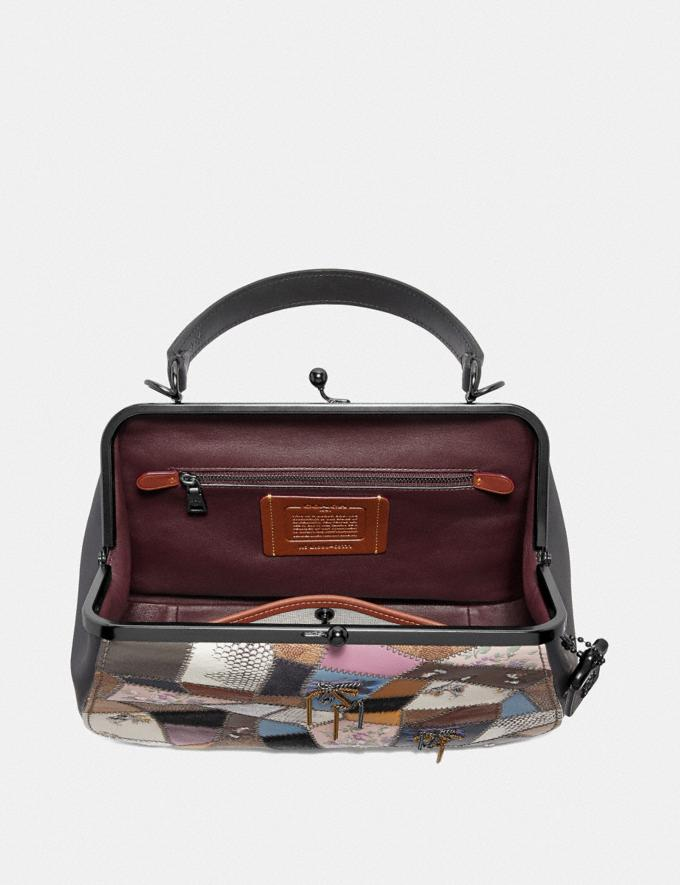 Coach Frame Bag With Patchwork Tan Black Multi/Pewter Women Bags Satchels & Carryalls Alternate View 2