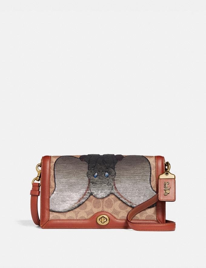 Coach Disney X Coach Signature Riley With Embellished Dumbo Tan/Rust/Brass Women Collection Signature Styles