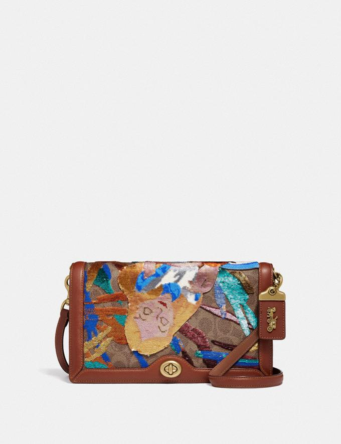 Coach Disney X Coach Signature Riley With Embellished Alice Tan/Rust/Brass Women Bags Signature Bags