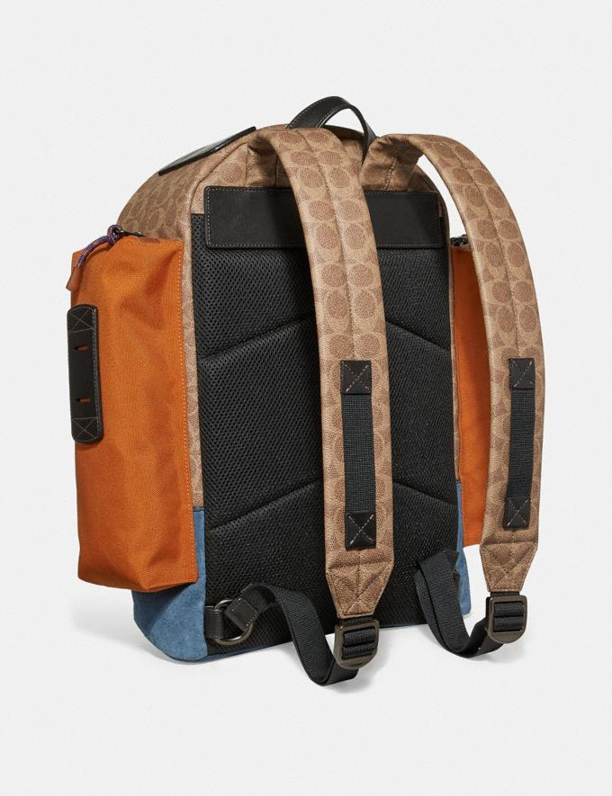 Coach Ridge Backpack in Signature Canvas With Coach Patch Khaki/Black Copper Men Bags Alternate View 1