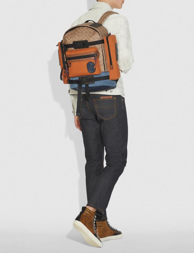 Coach Ridge Backpack in Signature Canvas With Coach Patch Khaki/Black Copper Men Bags Alternate View 3