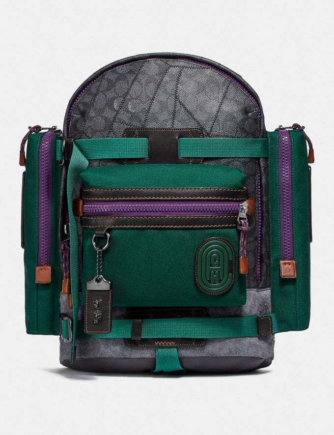 Coach Ridge Backpack in Signature Canvas With Coach Patch Charcoal/Black Copper New Men's New Arrivals View All