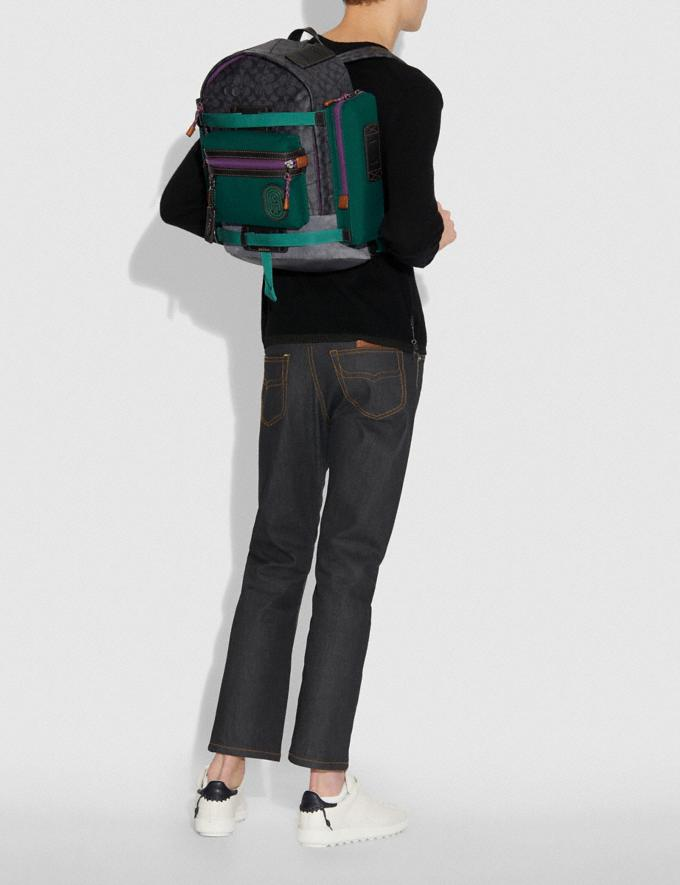 Coach Ridge Backpack in Signature Canvas With Coach Patch Charcoal/Black Copper New Men's New Arrivals View All Alternate View 3