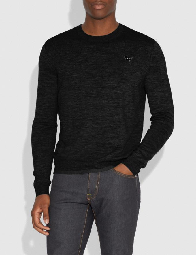 Coach Rexy Patch Crewneck Sweater Black Men Ready-to-Wear Tops & Bottoms Alternate View 1