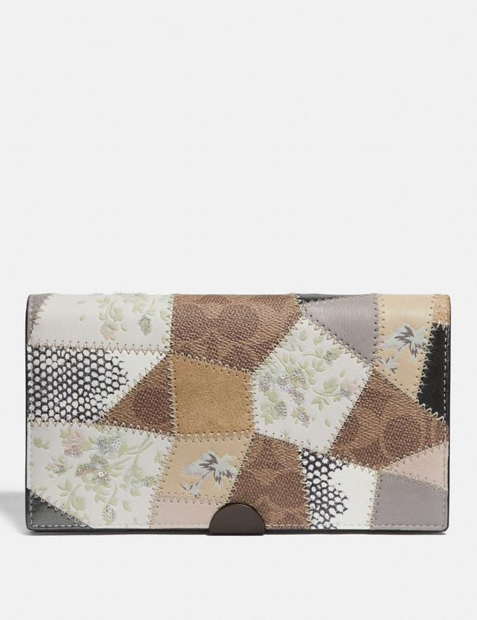 Coach Dreamer Wallet With Signature Patchwork Tan Beechwood Multi/Pewter New Women's Trends Patchwork