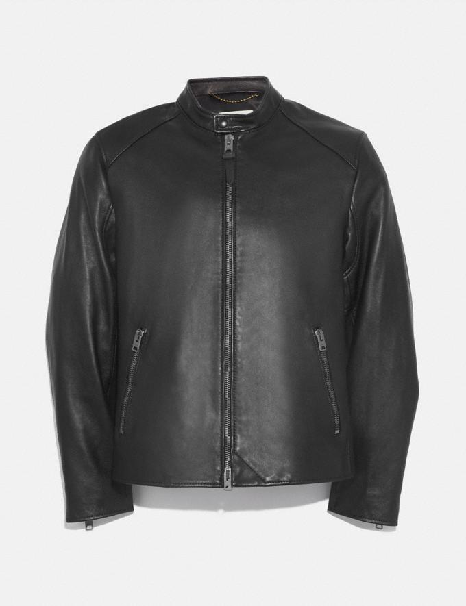 Coach Leather Racer Jacket Black Men Ready-to-Wear Jackets & Outerwear