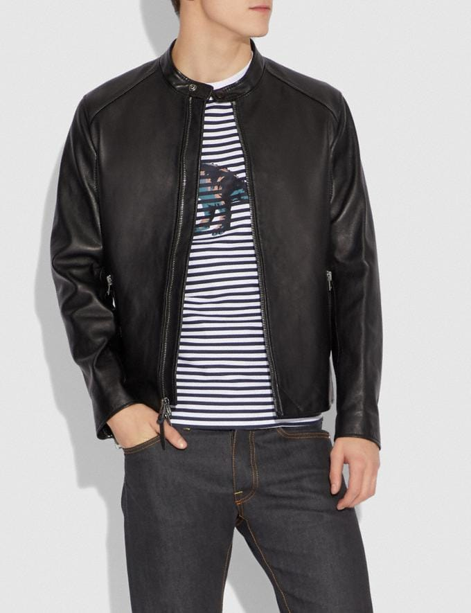 Coach Leather Racer Jacket Black Men Ready-to-Wear Alternate View 1