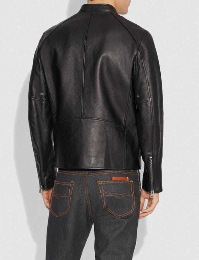 Coach Leather Racer Jacket Black Men Ready-to-Wear Alternate View 2
