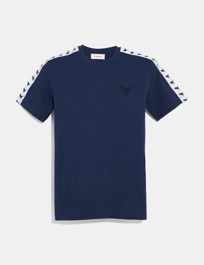 Coach Rexy Tape T-Shirt Dark Blue Men Ready-to-Wear Tops & Bottoms