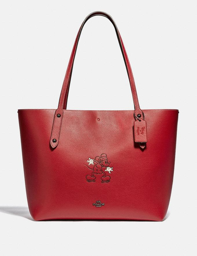 Coach Disney X Coach Market Tote With Disney Motif Pewter/1941 Red New Featured Disney X Coach