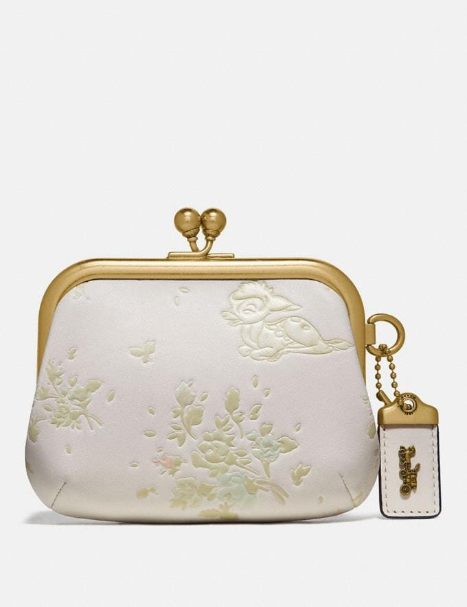 Coach Disney X Coach Kisslock Frame Pouch With Disney Motif Brass/Chalk New Women's New Arrivals Wallets & Wristlets