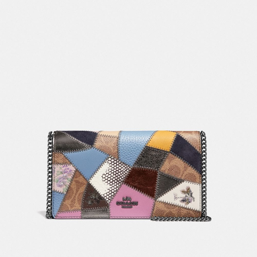 CALLIE FOLDOVER CHAIN CLUTCH WITH SIGNATURE PATCHWORK
