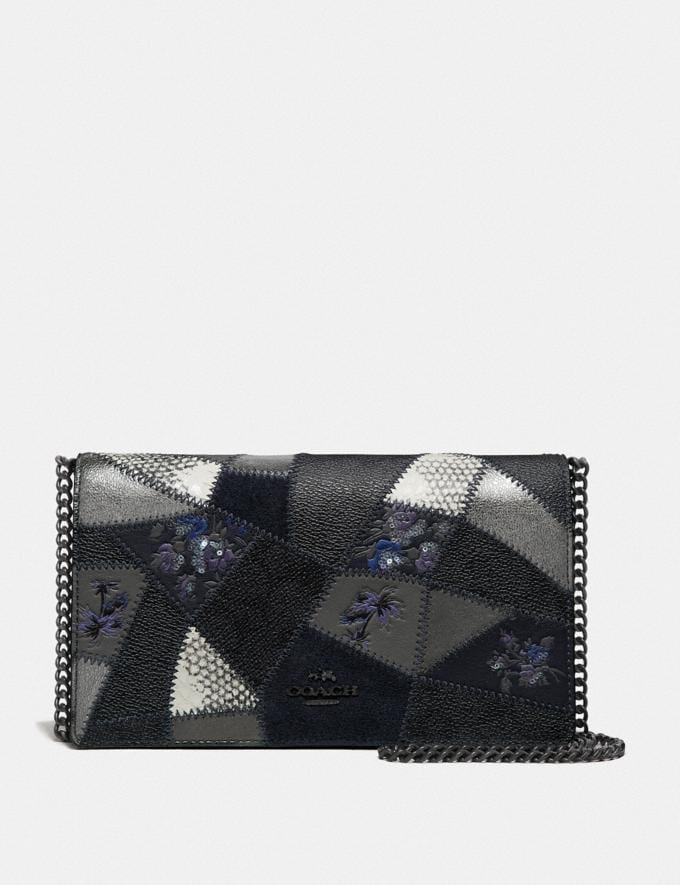 Coach Callie Foldover Chain Clutch With Signature Patchwork Charcoal Slate Multi/Pewter Women Bags Crossbody Bags