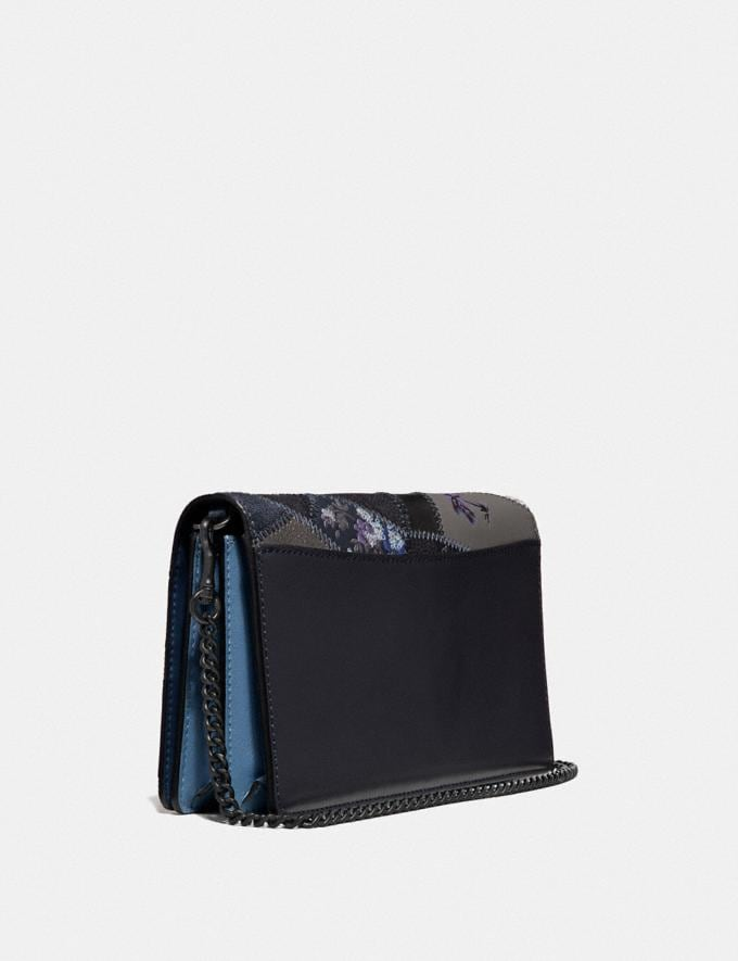 Coach Callie Foldover Chain Clutch With Signature Patchwork Charcoal Slate Multi/Pewter Women Bags Crossbody Bags Alternate View 1