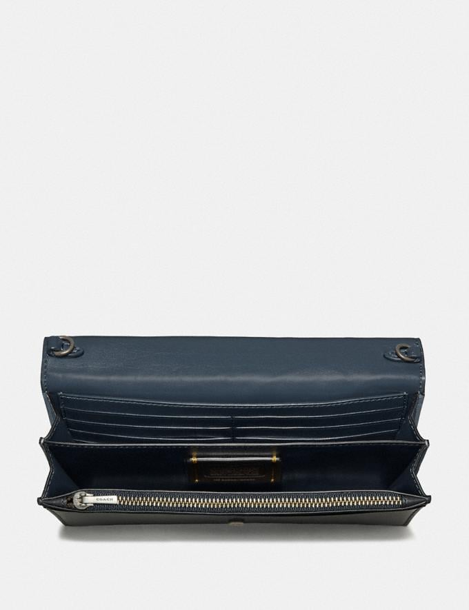 Coach Callie Foldover Chain Clutch With Signature Patchwork Charcoal Slate Multi/Pewter Women Bags Crossbody Bags Alternate View 2