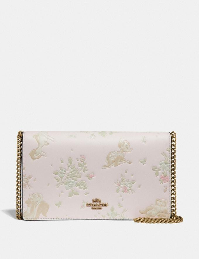 Coach Disney X Coach Callie Foldover Chain Clutch With Disney Motif Chalk/Brass Women Bags Clutches